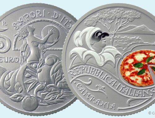 Moneta da 5 euro con la pizza